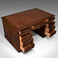 Antique Partner's Desk, English, Mahogany, Leather, Writing Table, Edwardian (8 of 12)