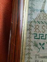 """Large Antique Needlework Sampler 1837 Elizabeth Starkey. in Frame 20"""" x 20"""" (9 of 12)"""