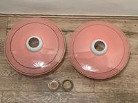 Pair of Stylish French 1960's Glass Pink White Hat Lamp Shades (26 of 40)