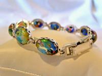 "Vintage Silver & Milliflori Glass Bracelet 1970s Length 7 3/4"" Heavy 23.7 Grams (3 of 12)"