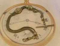 Antique Pocket Watch Chain 1890s Victorian Silver Nickel Fancy Albert With T Bar (4 of 12)