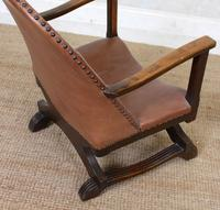 Carved Oak Leather Bucket Sofa & Chair (22 of 24)