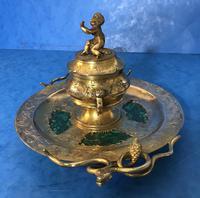 Victorian Gilt Brass Malachite Stationary Desk Set (7 of 17)