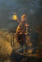 Newlyn School? Fab 19th Century Fishermen in Rough Seas Oil Portrait Painting (2 of 16)