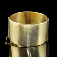 Antique Victorian Engraved Cuff Bangle Silver Gold Gilt c.1880 (2 of 5)