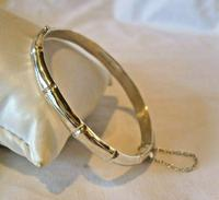 "Vintage Sterling Silver Bamboo Bangle Ornate Silver Bracelet 7 1/4"" Length (4 of 12)"
