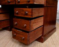 Mahogany Leather Desk 19th Century Victorian Kneehole Twin Pedestal (10 of 14)