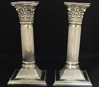 Pair of Square Base Late Victorian Silver Plate Corinthian Column Candlesticks (3 of 6)