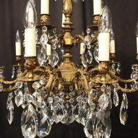 Italian Gilded 15 Light Antique Chandelier (6 of 10)