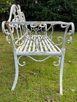 Large French Art Deco Style Fleur De Lis Garden Double Bowed  Curved Bench Seats 3 (14 of 37)