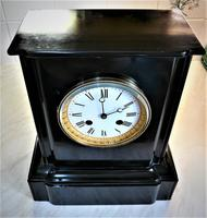 Wonderful 1863 French Striking Black Slate Mantel Clock (3 of 5)
