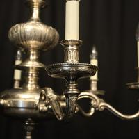 English Silver Plated 6 Light Antique Chandelier (3 of 10)