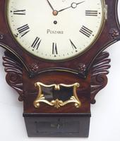 Rare Antique Drop Dial Wall Clock 8 Day Single Fusee Movement Signed J H Harvey Penzance (3 of 12)