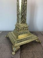 Victorian Pierced Brass Column Table Lamp, Rewired And Pat Tested (7 of 10)