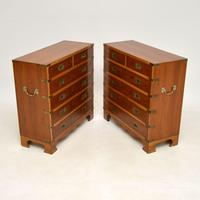 Pair of Yew Wood Military Campaign Style Chests (13 of 14)