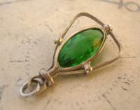 Antique Pocket Watch Chain Fob 1900 Art Nouveau Silver Chrome & Vivid Green Glass Fob (6 of 8)