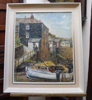 Oil on Canvas Cornish Harbour View Listed Artist Dora Johns 1966 (10 of 10)