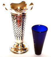 Edwardian Silver Trumpet Shaped Vase with Blue Glass Liner - Chester 1901