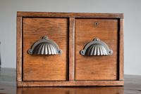 Vintage Mid Century Industrial Oak Bank of Two Drawers (3 of 10)