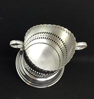 Edwardian Reticulated  Silver Plated Two Handle Bottle Holder (3 of 4)