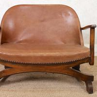 Carved Oak Leather Bucket Sofa & Chair (6 of 24)