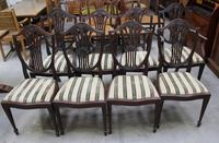 1960's Mahogany Set 8 Wheatcheaf Dining chairs with Pop out Seats