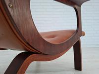 Danish armchair, cowhide, cognac leather, 1970s (8 of 20)