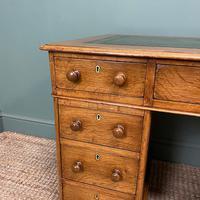 Victorian Golden Oak Antique Pedestal Desk (4 of 7)