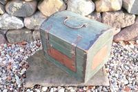 Scandinavian / Swedish 'Folk Art' Small blue-black orginal paint, Hälsingland table chest box 1814 (4 of 25)