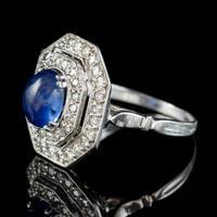 Art Deco Sapphire Diamond Cluster Ring 18ct Gold 1.50ct Sapphire 1.69ct Diamond c.1930 (3 of 7)