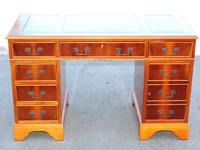 1960s Yew Wood Pedestal Desk with Green Leather Inset