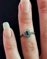 Vintage Sapphire & Diamond Cluster Ring, 18ct White Gold (12 of 13)