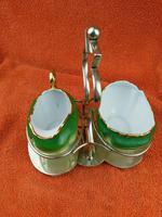Antique Bone China Milk Jug & Sugar Bowl in Silver Pate Carry Stand C1890 (12 of 12)