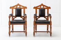 Late 19th Century Pair of Gothic Oak Armchairs (2 of 10)
