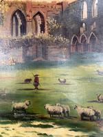 Antique Landscape Oil Painting of Ruined Gothic Abbey with Sheep Signed FCH (5 of 10)