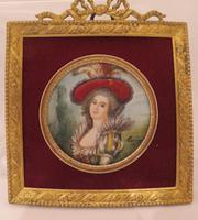 Miniature Portrait Lady of the French Court Square Gilt Frame 1880 (2 of 3)