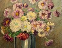 Lovely Original Early 20thc French Impressionist Still Life Floral Oil Painting (6 of 12)
