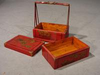 Attractive Early 20th Century Red Lacquer Picnic Basket (5 of 5)