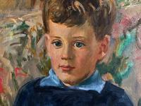 'Boy with Toy' Thomas Sherwood La Fontaine Superb Oil Portrait Painting (5 of 13)