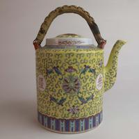Vintage Mun Shou 'Longevity' Yellow Chinese Teapot (3 of 7)