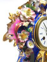 Antique 8 Day Porcelain Mantel Clock Sevres Blue Floral French Mantle Clock (6 of 6)