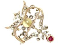 2.05ct Ruby & 1.70ct Diamond & 12ct Yellow Gold Brooch - Antique c.1910 (6 of 9)