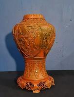 Antique 19th Century Asian Chinese Cinnabar Vase Urn (5 of 12)