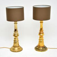 1970's Pair of Vintage Brass Table Lamps (2 of 6)