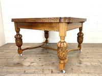 Antique Oak Draw Leaf Dining Table (9 of 10)