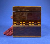 Victorian Rosewood Single Tea Caddy with Micro Mosaic Tunbridge Ware Inlay (4 of 11)