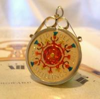 Vintage Pocket Watch Chain Florin Fob 1967 Lucky Silver & Enamel Two Shilling Fob (5 of 10)