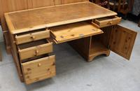 1960's Large Ducal Pine Pedestal Desk with Brown Leather inset on Top (2 of 5)