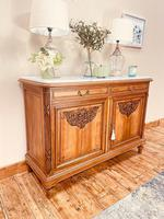 French Antique Sideboard / Walnut Buffet / Marble Cupboard (2 of 10)