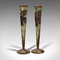 Pair of Antique Flute Vases, French, Copper, Posy, Art Nouveau Taste c.1920 (3 of 12)